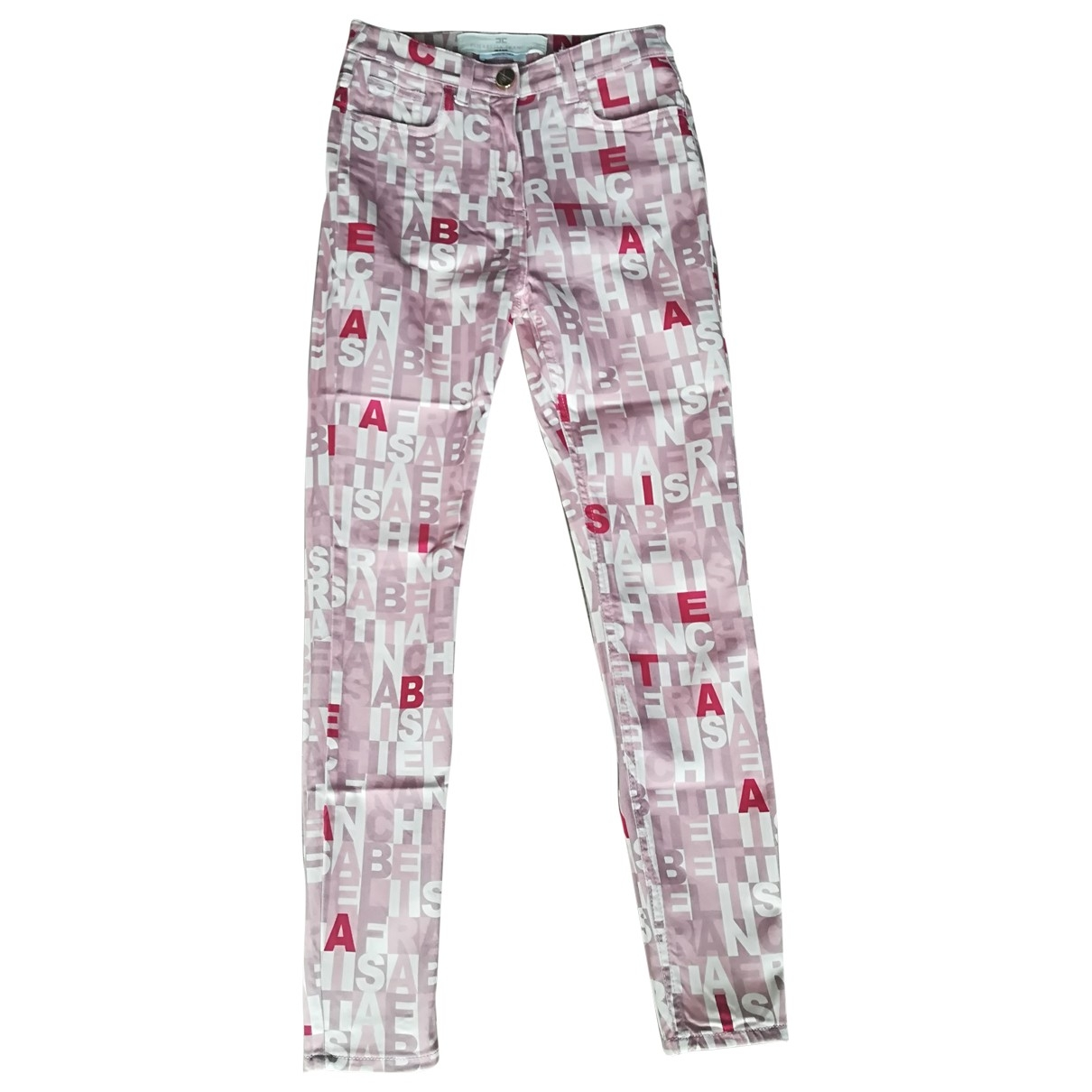 Elisabetta Franchi \N Pink Cotton Trousers for Women 40 IT