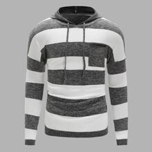 Guys Striped Colorblock Drawstring Hooded Sweater