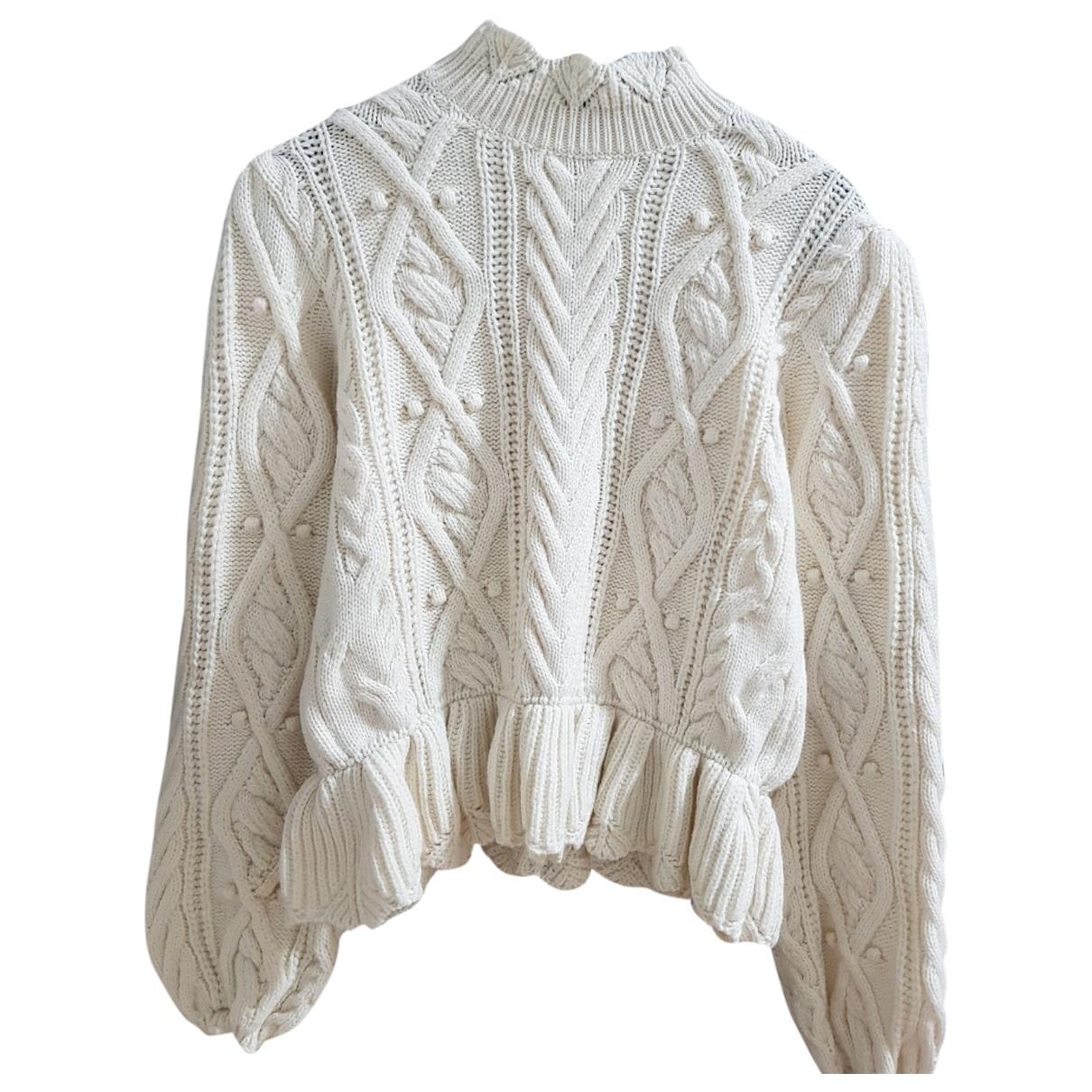 Zara - Pull   pour femme en laine - ecru