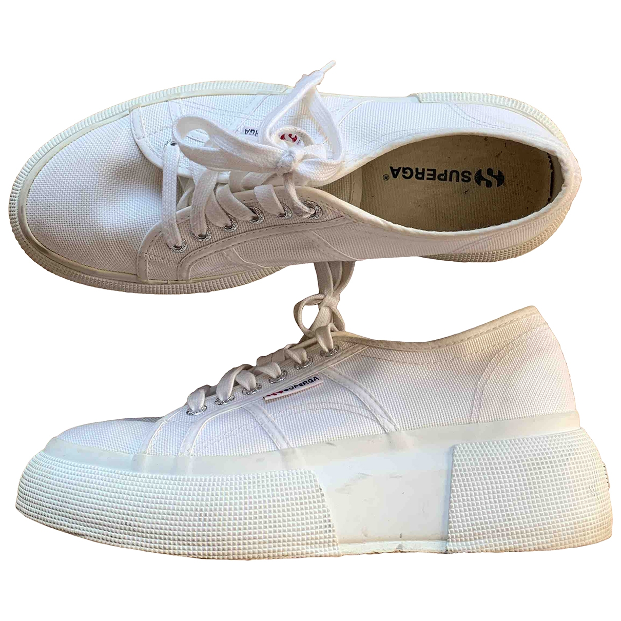 Superga \N White Cloth Trainers for Women 40 EU