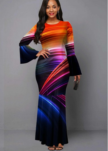 Cocktail Party Dress Flare Sleeve Round Neck Rainbow Color Maxi Dress - M