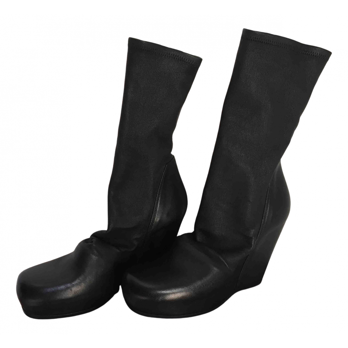 Rick Owens N Black Leather Ankle boots for Women 39 EU