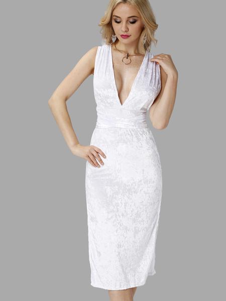 Yoins White Velvet Deep V Neck Backless Slit Hem Party Dress