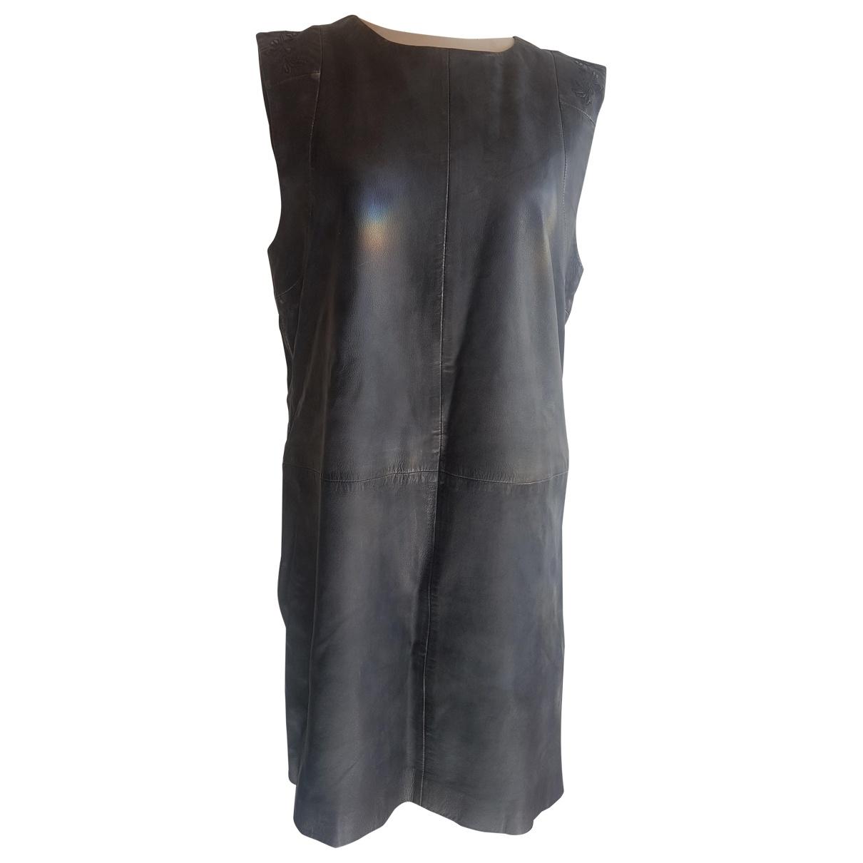 Hugo Boss - Robe   pour femme en cuir - noir