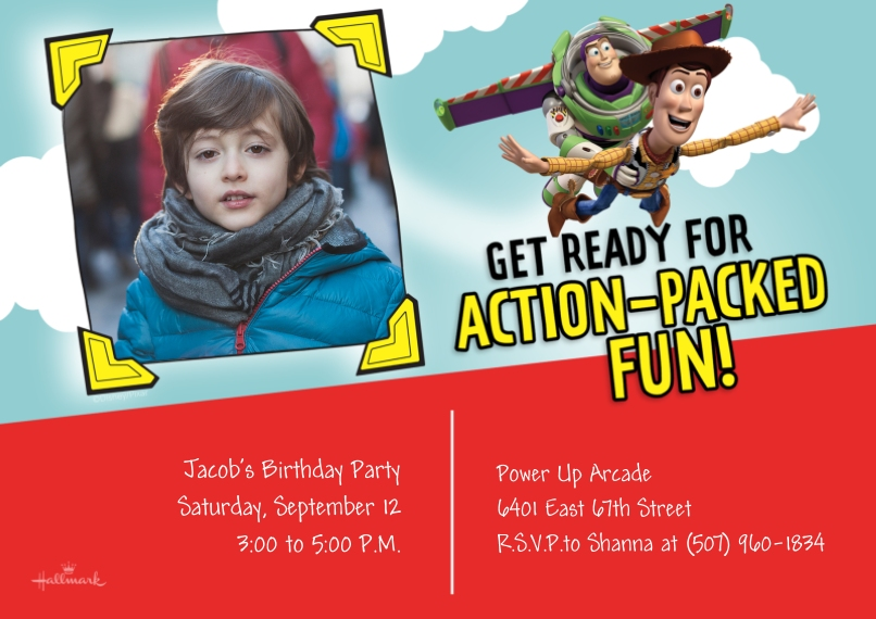 Kids Birthday Party Invites Flat Matte Photo Paper Cards with Envelopes, 5x7, Card & Stationery -Action-Packed Fun - Toy Story