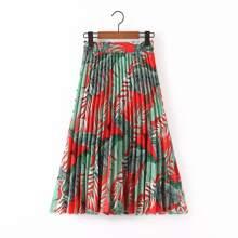 Plus Tropical Print Pleated Skirt