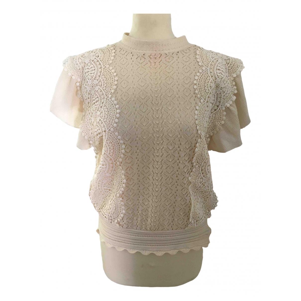 Zara - Top   pour femme en dentelle - beige