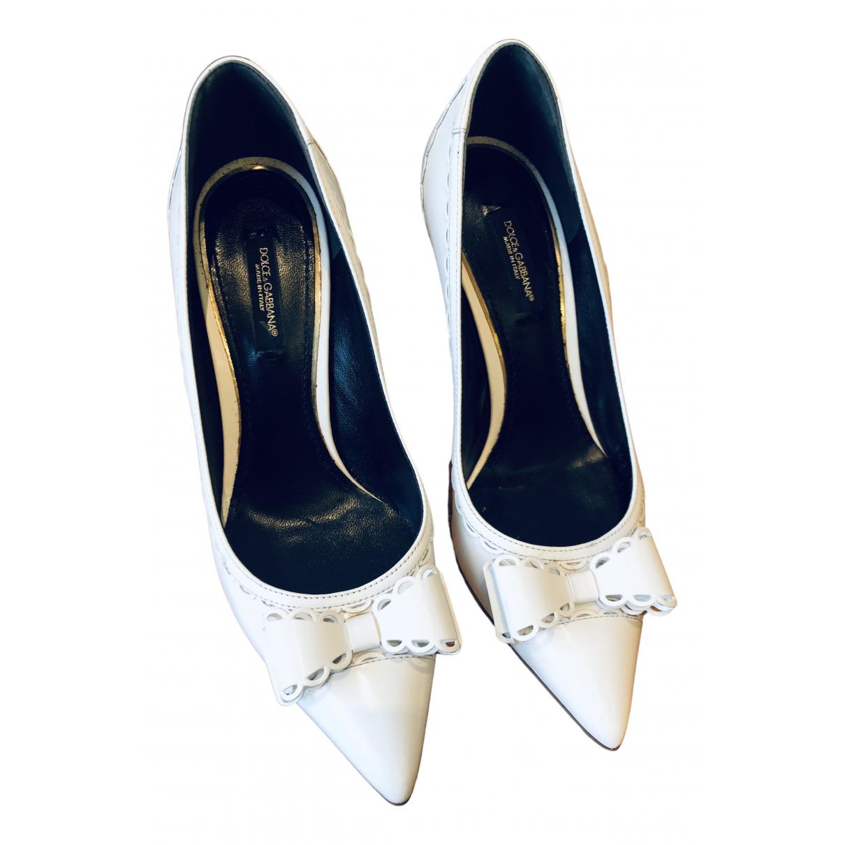 Dolce & Gabbana N White Leather Heels for Women 36 EU