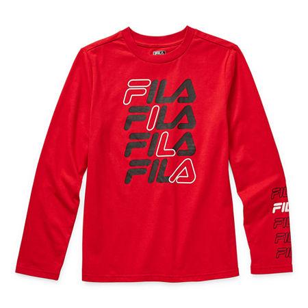 Fila Big Boys Round Neck Long Sleeve T-Shirt, Small (8) , Red