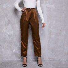 Pantalones de pierna recta con cinturon con hebilla