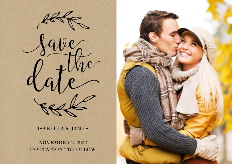 Save the Date 5x7 Cards, Premium Cardstock 120lb with Elegant Corners, Card & Stationery -Wedding Save the Date Laurels by Tumbalina