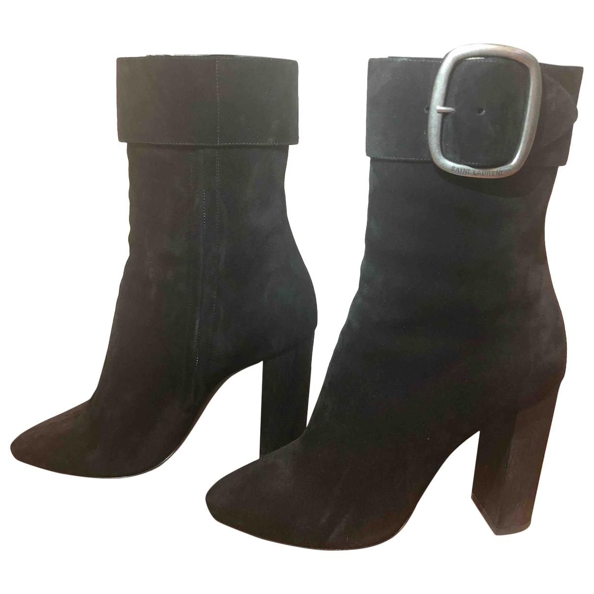 Saint Laurent - Boots Joplin pour femme en suede - noir