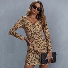 Notch Neck Leopard Bodycon Dress