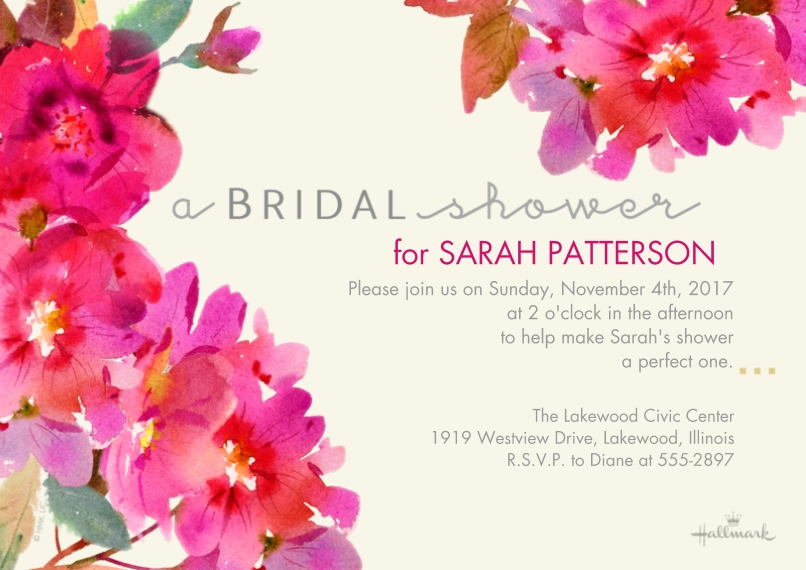 Bridal Shower 5x7 Cards, Premium Cardstock 120lb, Card & Stationery -Watercolor Floral