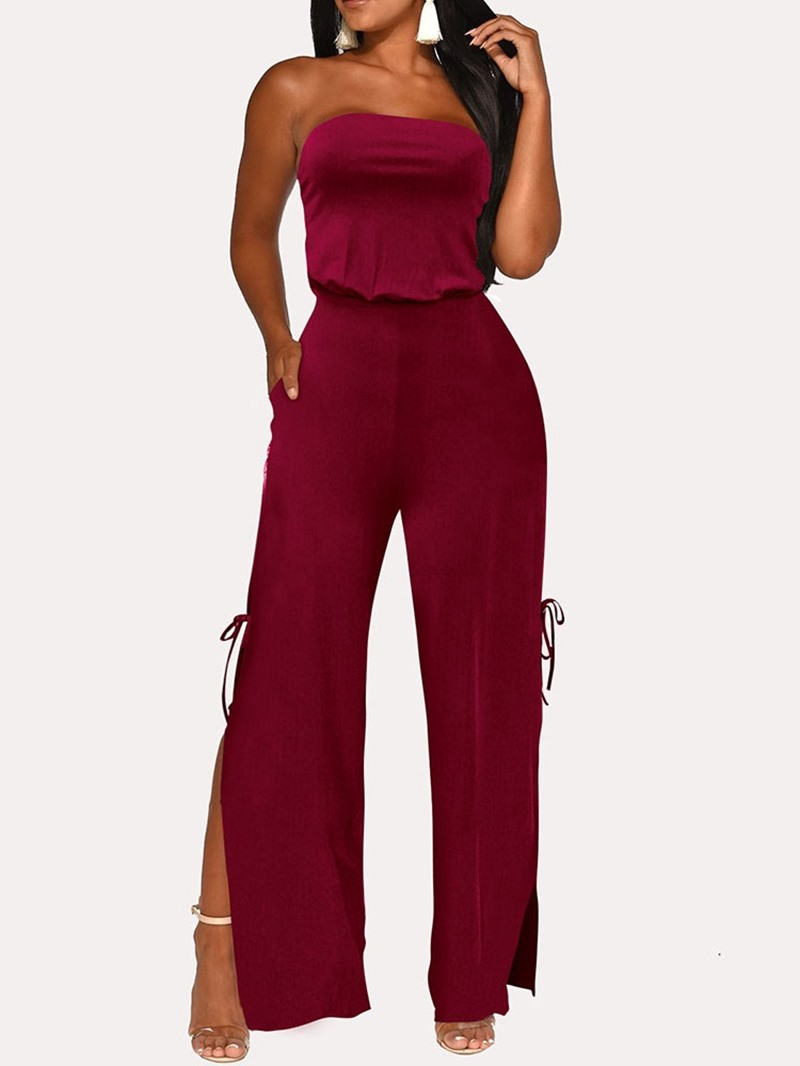 Ericdress Fashion Plain Full Length Split High Waist Jumpsuit