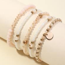 5 Stuecke Armband mit Disc Anhaenger und Perlen