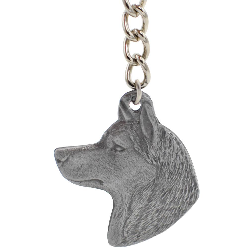 Dog Breed Keychain USA Pewter - Siberian Huskey (2.5