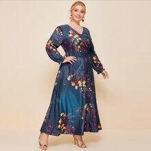 Plus Floral And Feather Print Flounce Sleeve Maxi Dress