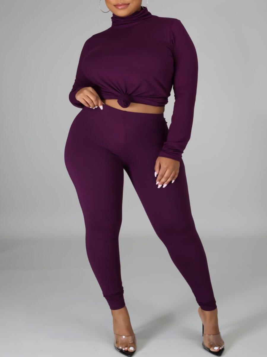 LW Lovely Casual Turtleneck Basic Skinny Purple Two Piece Pants Set