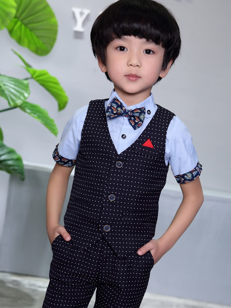 Ericdress Polka Dots Vest Pocket Shorts Boys Suit