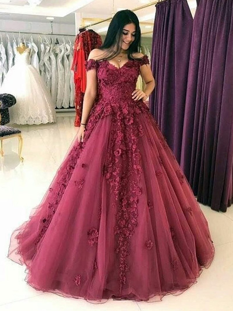 Ericdress Appliques Off-The-Shoulder Prom Dress