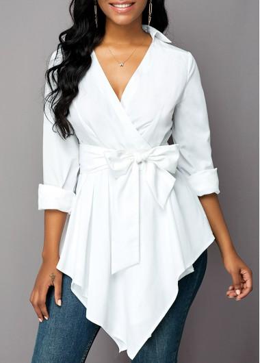 Belted Asymmetric Hem Long Sleeve Blouse - L