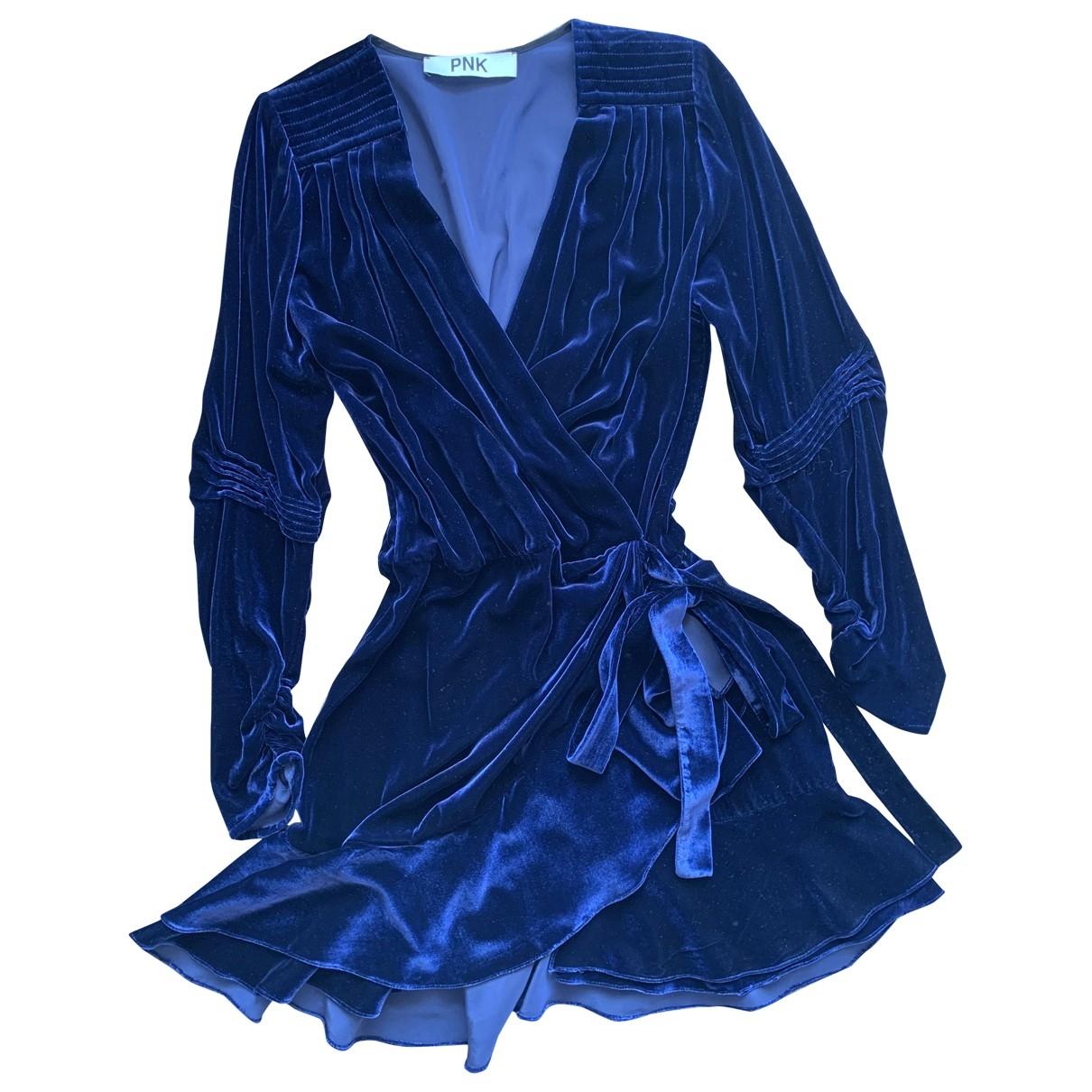 - Robe   pour femme en velours - bleu