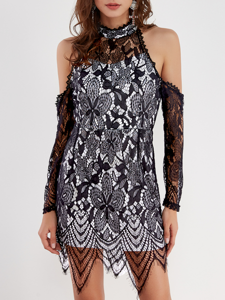 Yoins Black Lace Details Cold Shoulder Long Sleeves Sexy Dress