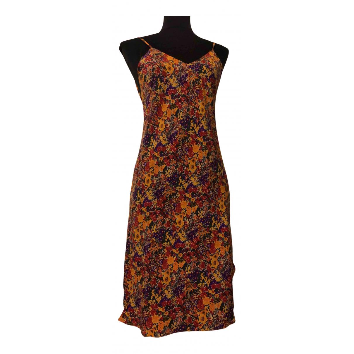 Non Signé / Unsigned N Multicolour Silk dress for Women 36 FR