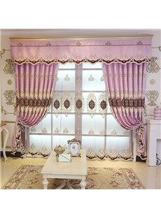 Fancy and Elegant Embroidered 2 Panels Custom Living Room Bedroom Pink Sheer Curtain
