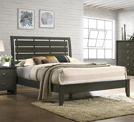 Noah Collection NA400-Q Queen Size Bed with Slat Headboard and EPA Certified in Light Gray