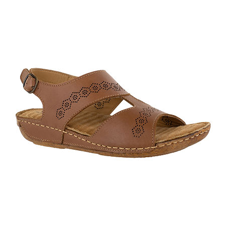 Easy Street Sloane Womens Adjustable Strap Footbed Sandals, 9 Medium, Brown