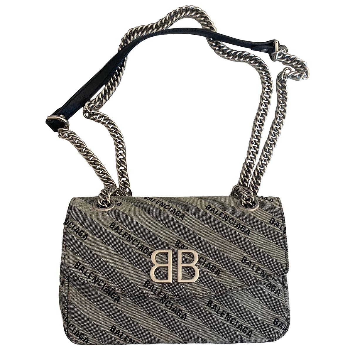 Balenciaga BB Round Handtasche in  Grau Leinen