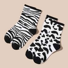 2pairs Men Zebra Stripe Pattern Socks