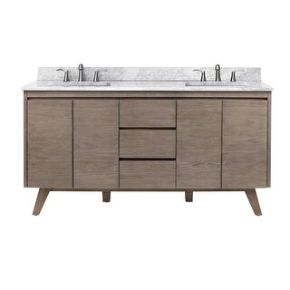 Avanity COVENTRY-VS61 Coventry 61 Free Standing Double Vanity Set (Gray Teak / Carrera White)