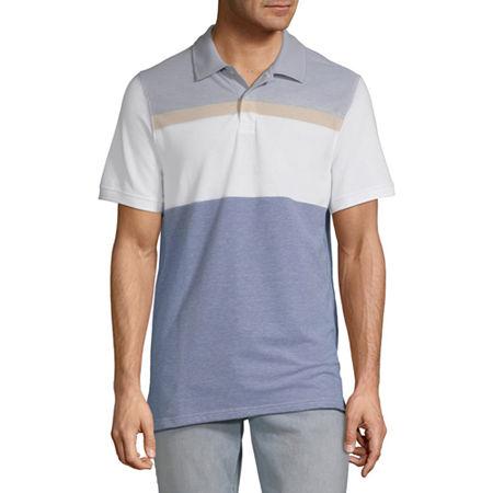 St. John's Bay Essential Stretch Mens Short Sleeve Polo Shirt, Small , Blue