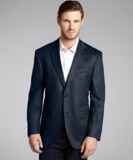 Dark Gray Wool and Cashmere Blend 2 Button Blazer