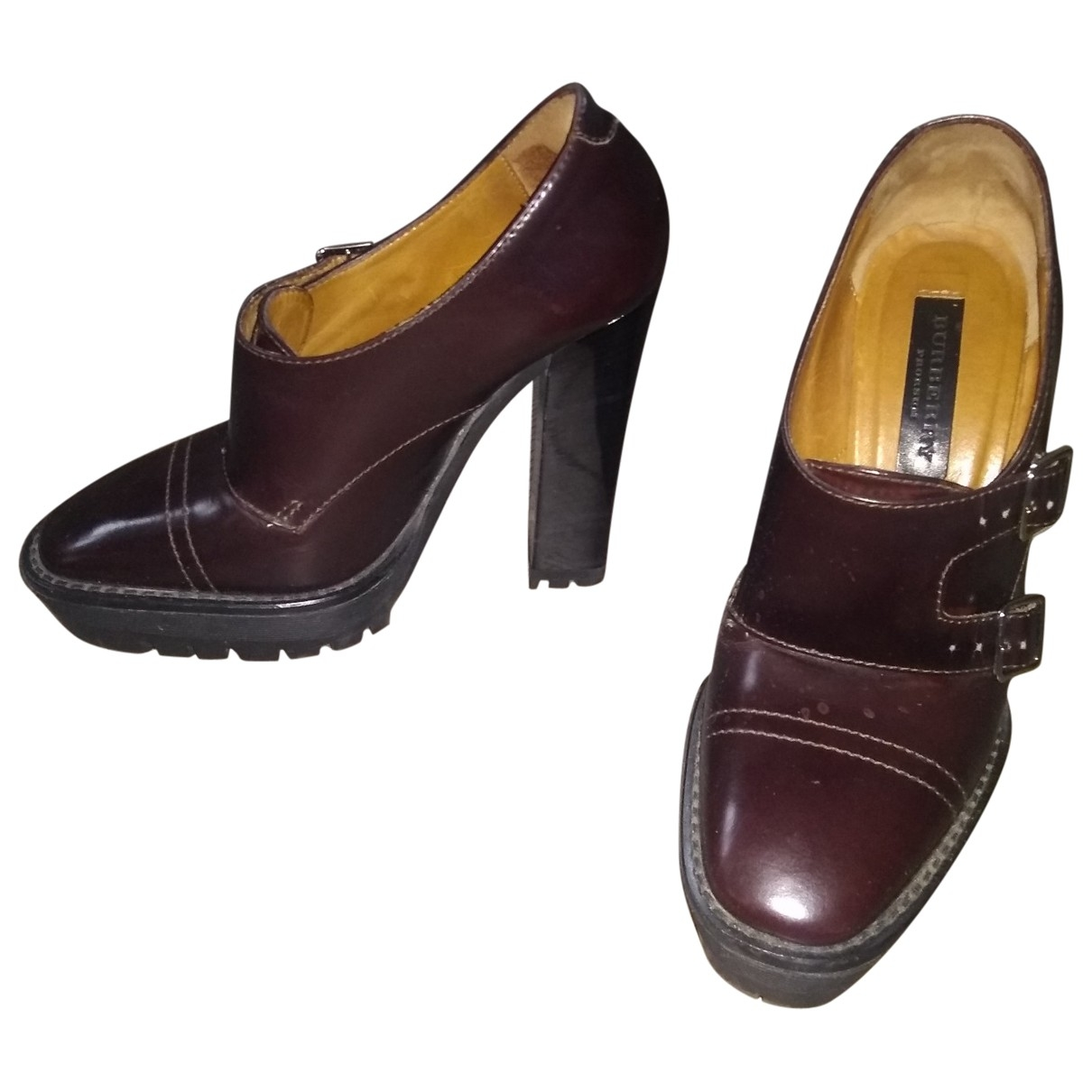 Burberry \N Burgundy Leather Ankle boots for Women 36 EU