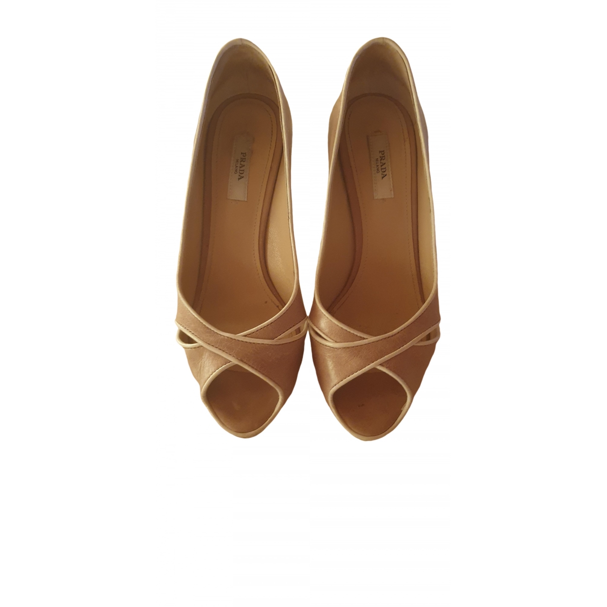 Prada \N Beige Leather Heels for Women 36 EU