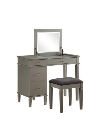 BM144065 Wooden Vanity Set with Flip Top Mirror and 4 Drawers