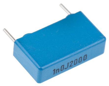 KEMET 1nF Polypropylene Capacitor PP 2 kV dc, 700 V ac ±5% Tolerance Through Hole PHE448 Series (10)