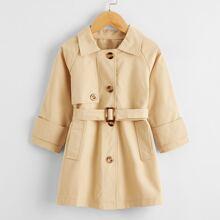 Einfarbiger Mantel mit Knopfen und Guertel