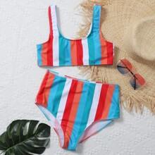 Colorful Striped High Waisted Bikini Swimsuit