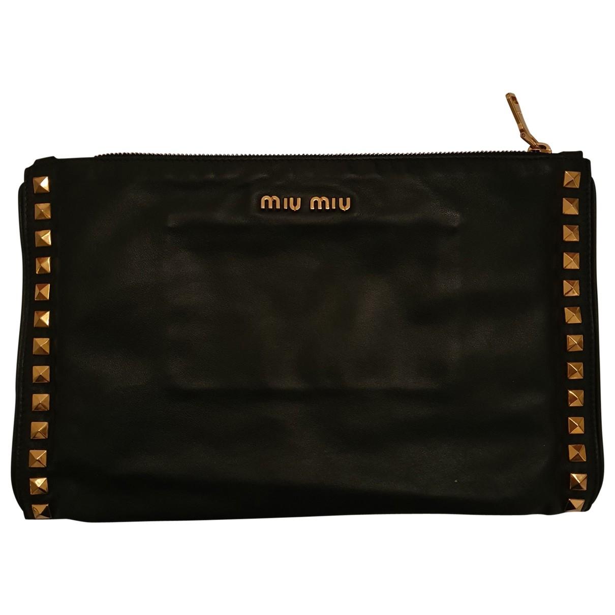 Miu Miu - Pochette   pour femme en cuir - noir