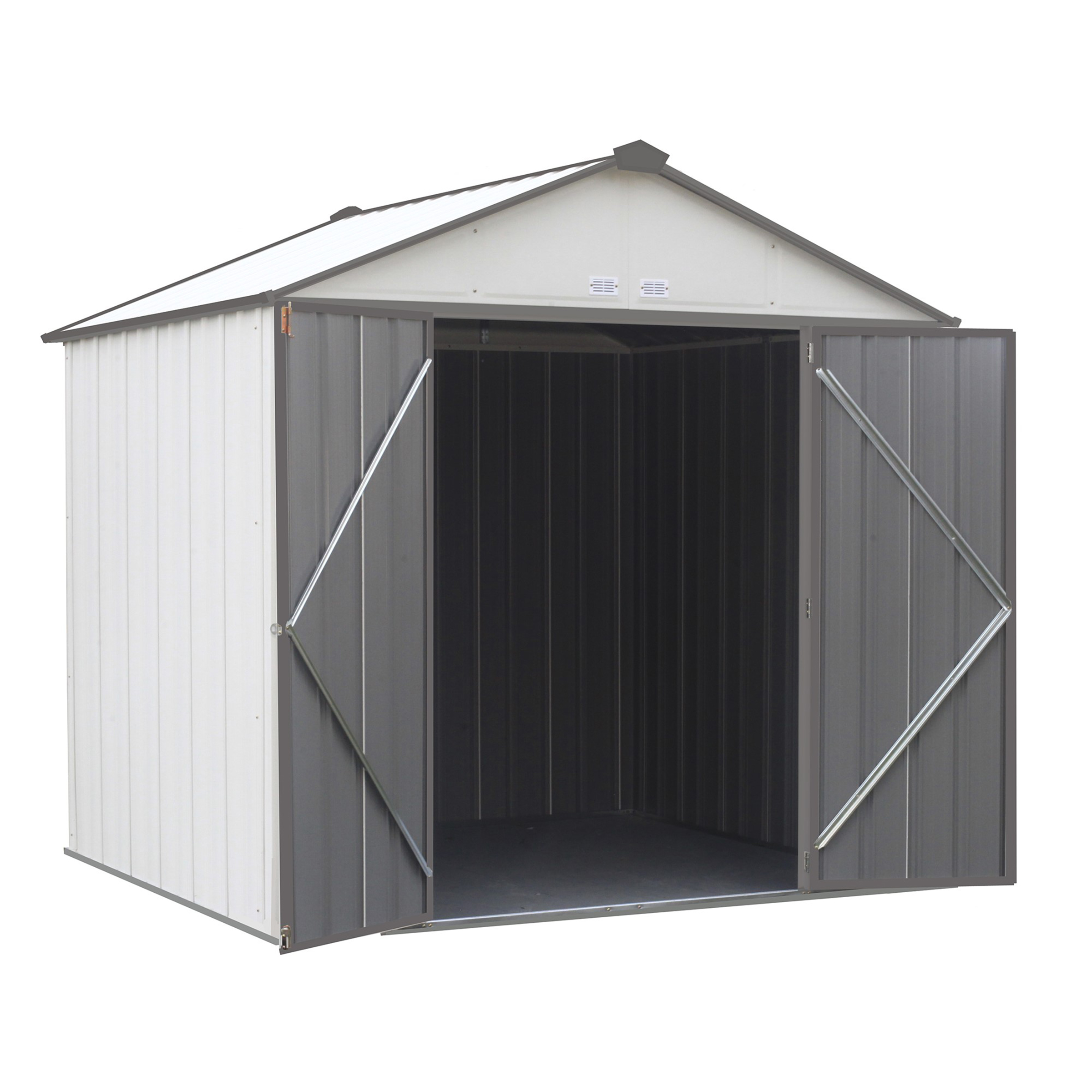 EZEE Shed , 8x7, High Gable, 72 in walls, Cream & Charcoal