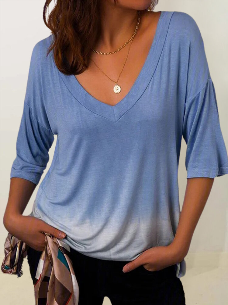 Gradient Half Sleeve V-neck Casual Plus Size T-shirt