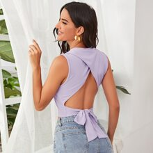 Cut-out Tie Back Rib-knit Crop Top