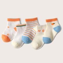 5 Paare Kleinkind Maedchen Socken mit Buchstaben Grafik