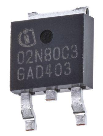 Infineon N-Channel MOSFET, 2 A, 800 V, 3-Pin DPAK  SPD02N80C3BTMA1 (2)