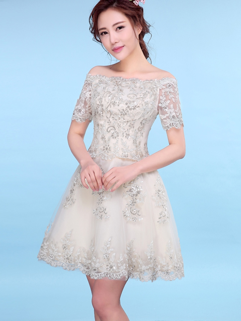 Ericdress A-Line Off-the-Shoulder Short Sleeves Appliques Sequins Mini Homecoming Dress